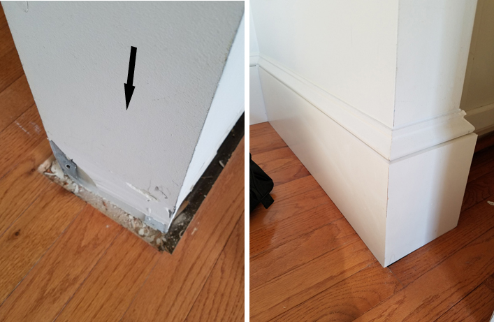 before and after of baseboard