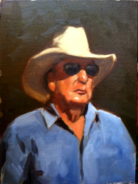 Oil painting of an older man in a light-coloured wide-brimmed hat wearing sunglasses and a blue shirt.