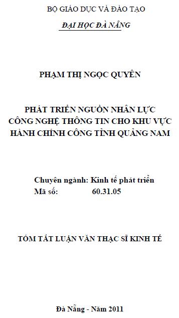Phát triển nguồn nhân lực công nghệ thông tin cho khu vực hành chính công tỉnh Quảng Nam