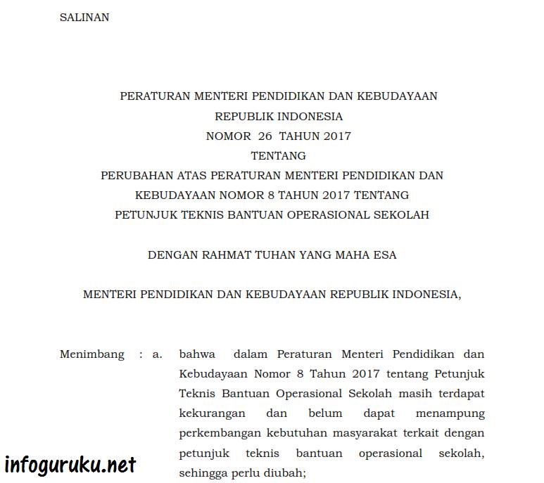 Permendikbud No  Merupakan Perubahan Peraturan Menteri Pendidikan Dan Kebudayaan Nomor  Tentang Petunjuk Teknis Bantuan Operasional