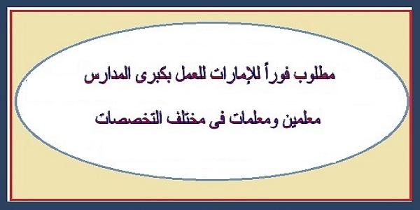 مطلوب لكبرى المدارس الدوليه في الامارات معلمين ومعلمات