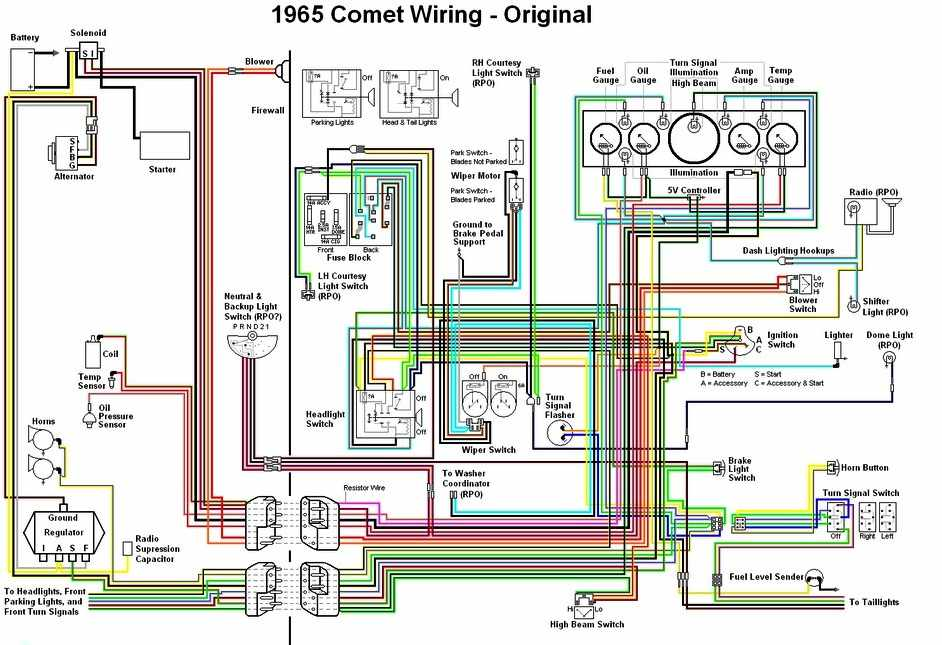 Mercury Comet 1965 Original Wiring Diagram