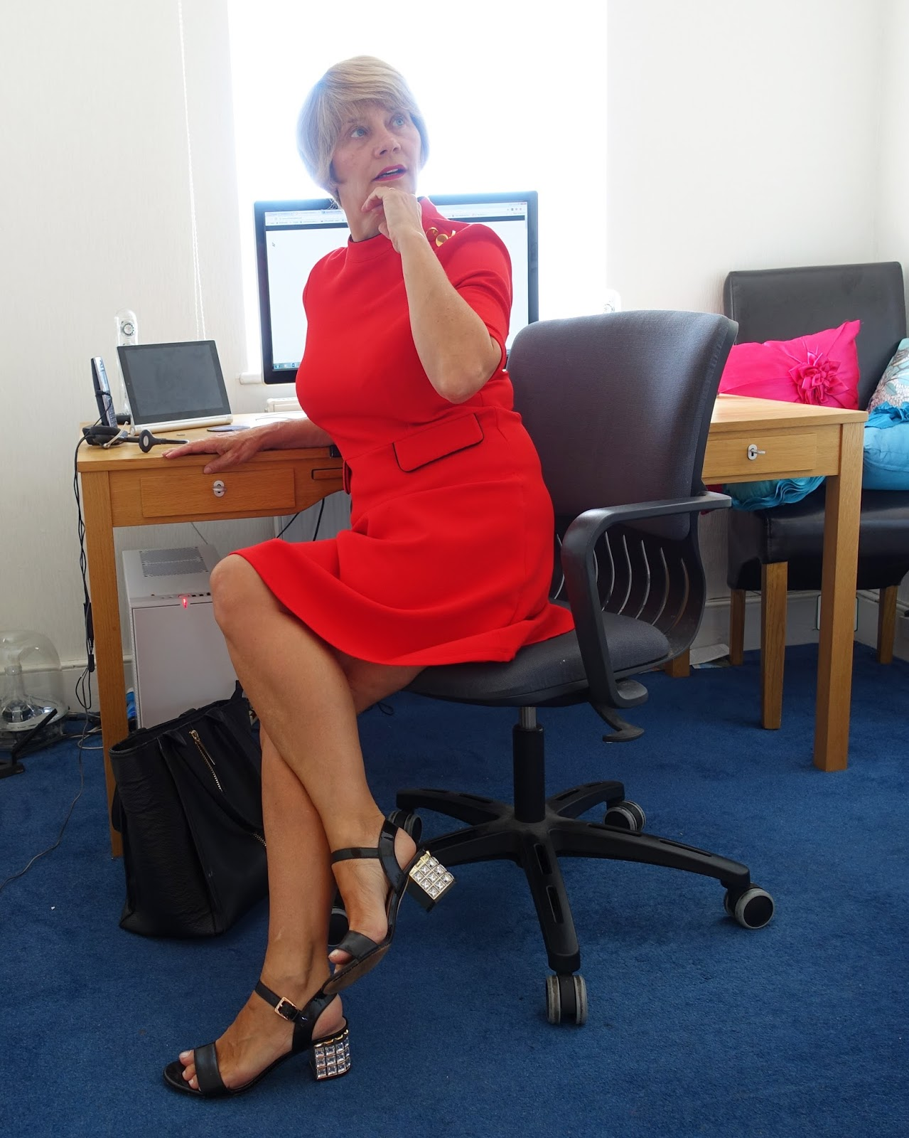 Red skater dress with gold buttons from Marks and Spencer, summer 2017: ideal workplace outfit when you want to feel confident. Worn by Gail Hanlon, over 40s blogger from Is This Mutton.com