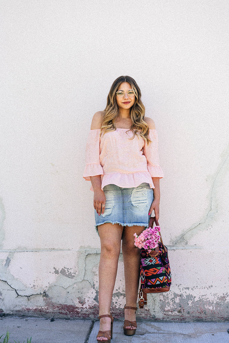 summer outfit ideas, off the shoulder top, OTS top