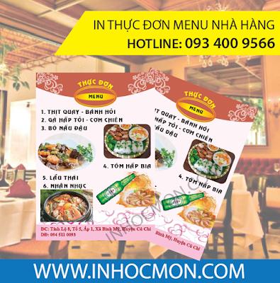menu nhà hàng, menu quán ăn, menu tiệc cưới, sinh nhật