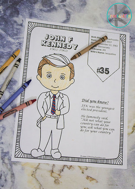 Kids will have fun learning interesting facts about the US Presidents with these FREE President coloring pages.