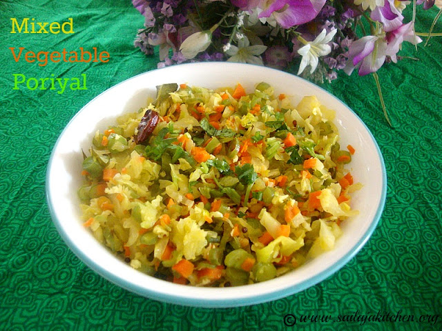 images for Mixed Vegetable Poriyal Recipe / Easy Vegetable Poriyal - Simple South Indian Side Dish