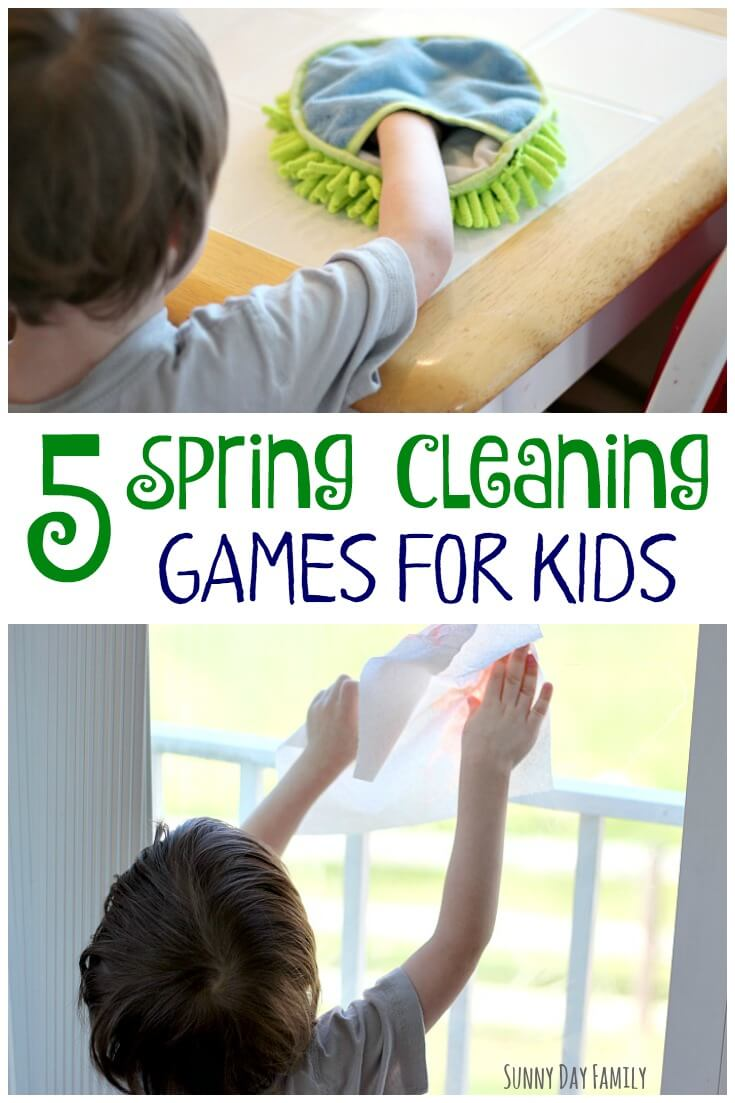 Make Spring cleaning fun with these 5 cleaning games for kids! Kids love to help clean the house, especially when you make cleaning a game. A super fun way to teach kids how to clean!