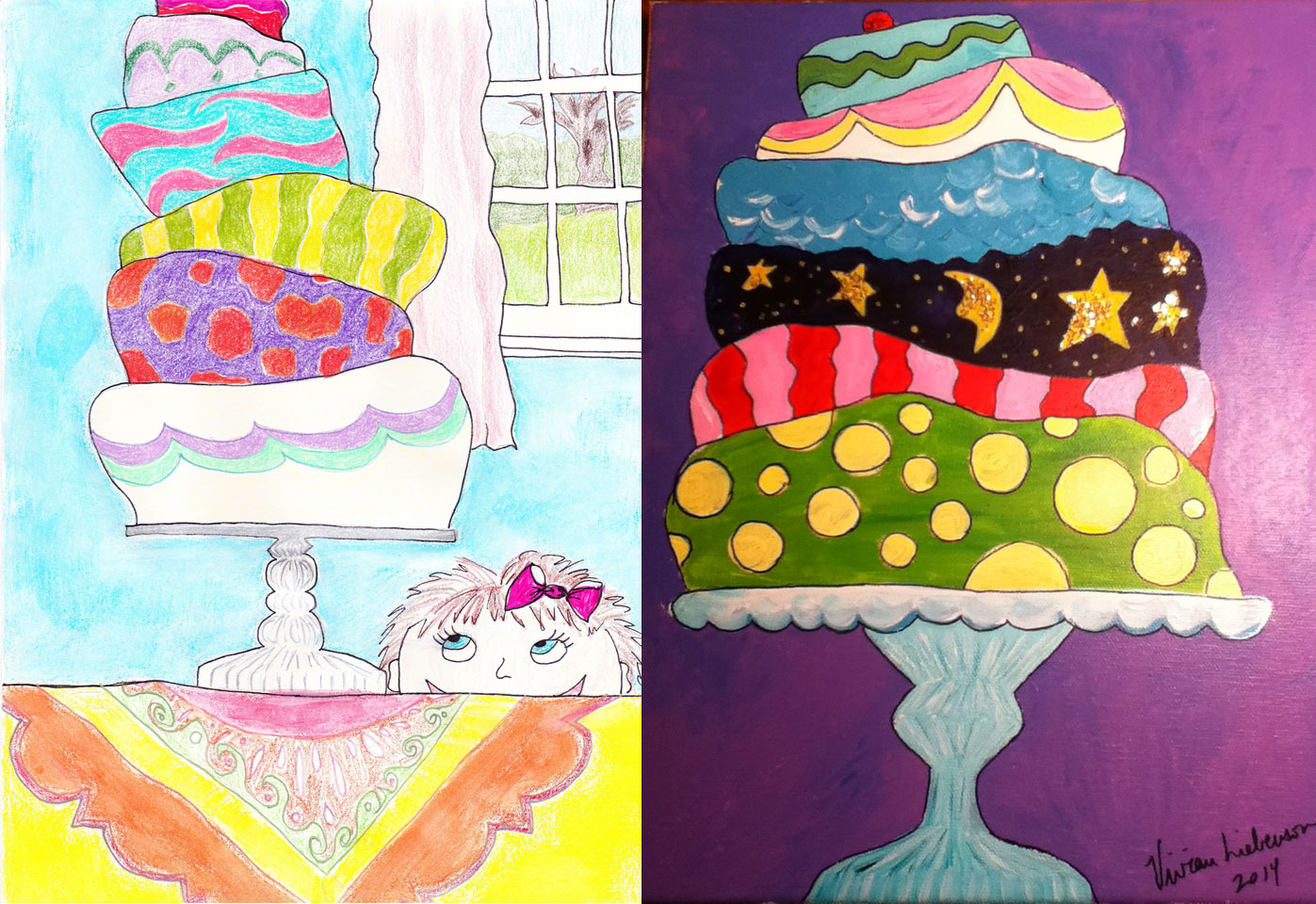 Cake drawing and painting