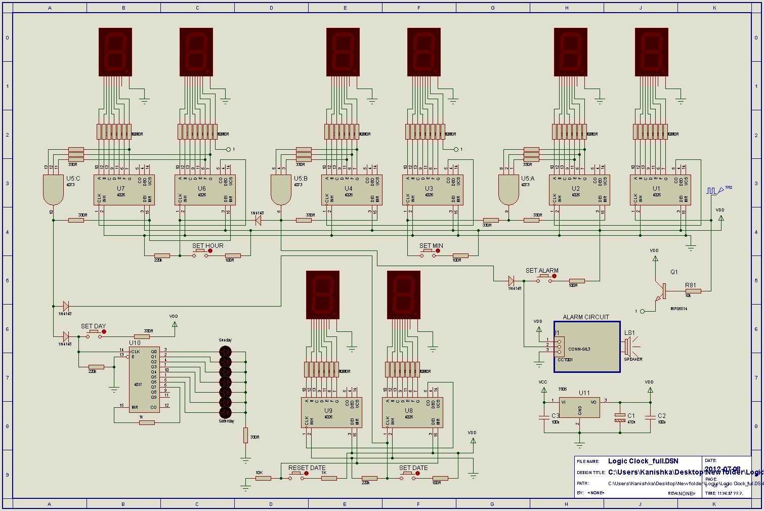 Digital Clock Using Ic 555 Circuit Diagram Wiring For Dpdt Relay Switch Double Pole Throw Engineersgarage 24hr And Alarm Logic Ics Cd4017 Cd4026 Rh Scopionz Blogspot Com