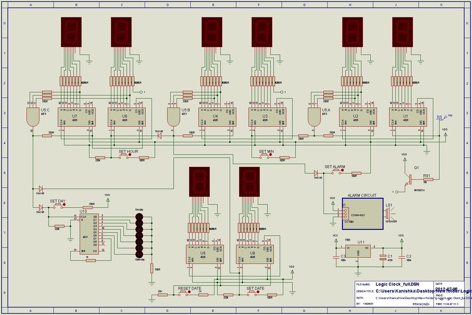 Alarm Clock Circuit Unique Radio Frequency Nextgr 24hr Digital And Using Logic Ics Cd4017