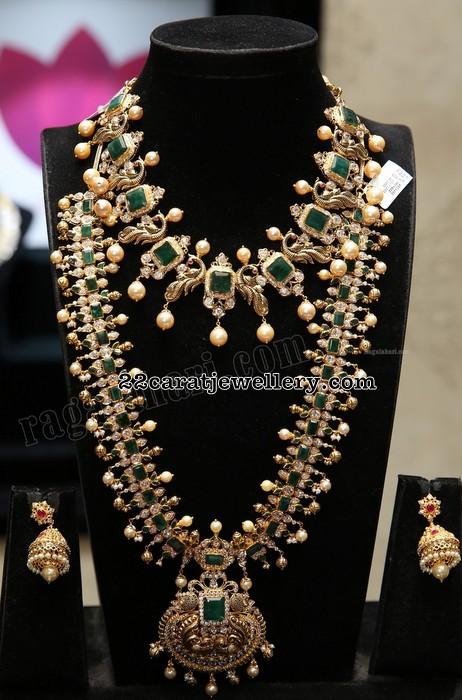 Emerald Long Haram Peacock Necklace Jewellery Designs