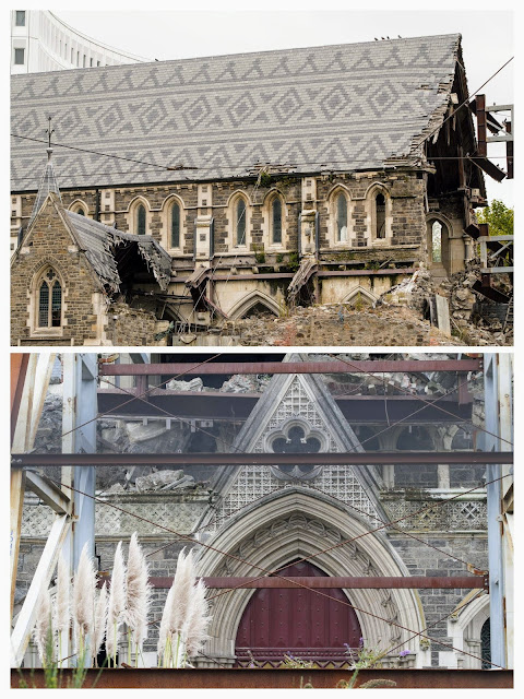 Christchurch after the earthquake: cathedral rubble