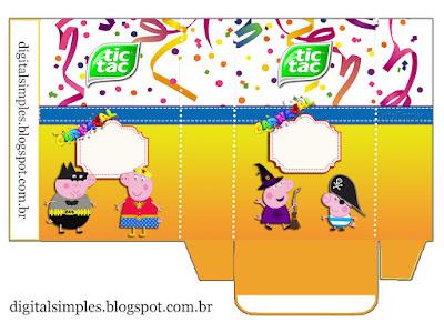 Caja Tic Tac para Imprimir Gratis de Peppa Pig en Carnaval.