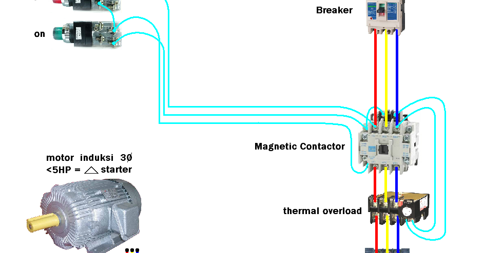 control wiring diagram of dol starter led light with relay foto gambar pengkoneksian / penyambungan rangkaian kontaktor ii