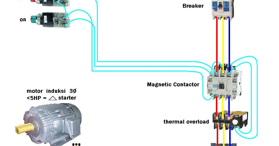 wiring+DOL+starter+motor+on+off+interlock Gambar Wiring Diagram Ats on