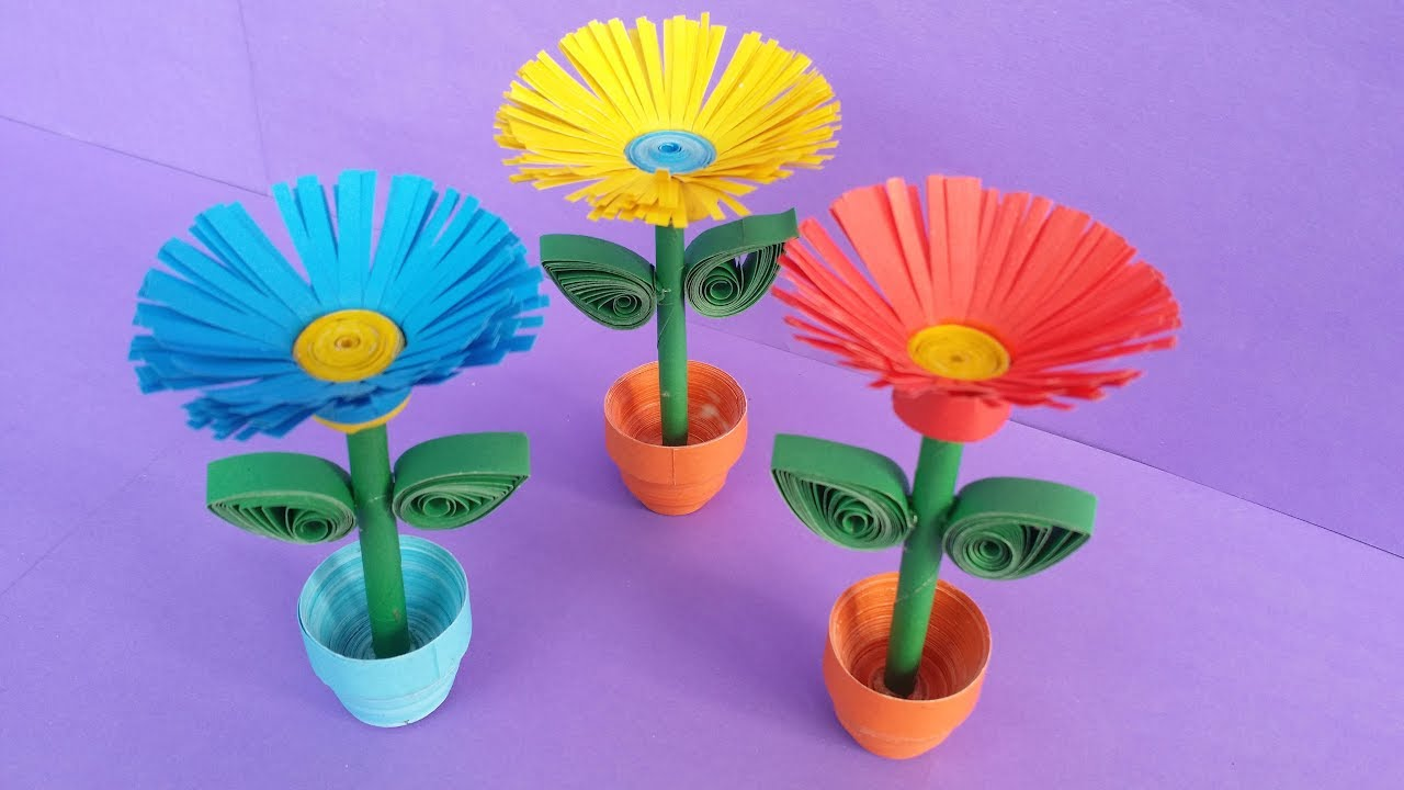 Quilling Miniature 3d Flower Pot Crazzy Craft