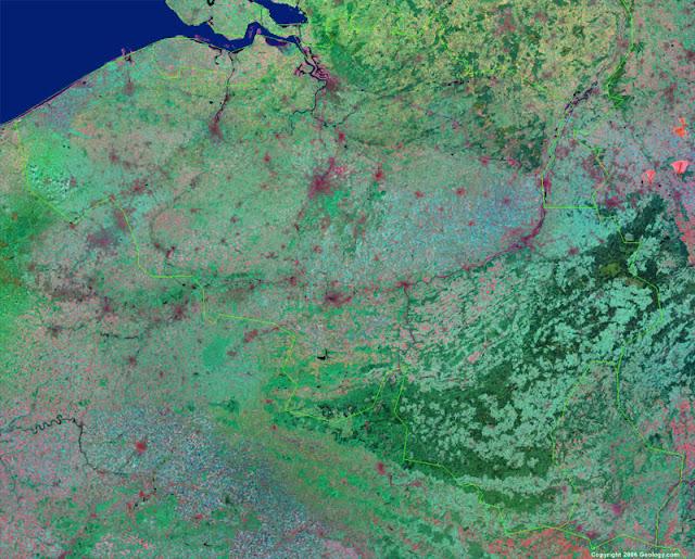 Gambar Peta negara Belgia tampak dari satelit
