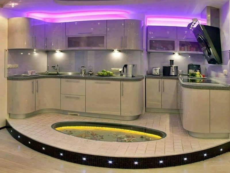 Desain Dapur Mewah Modern Nuansa Ungu 22