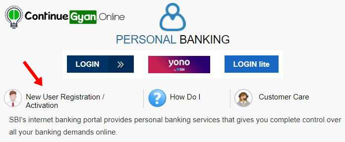 SBI net banking online registration process