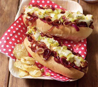 bacon, onion, and cheese hot dogs recipe
