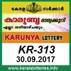 Karunya Lottery KR-313 Result 30.09.2017