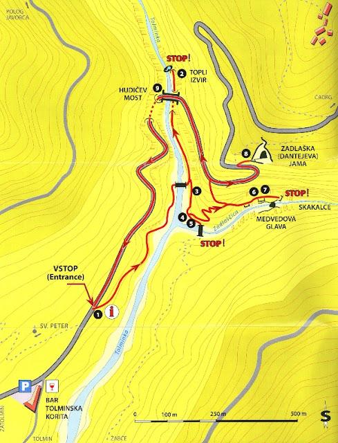 Mapa de las Gargantas de Tolmin