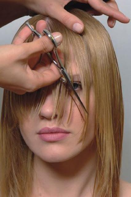 cabelo com franja  corte
