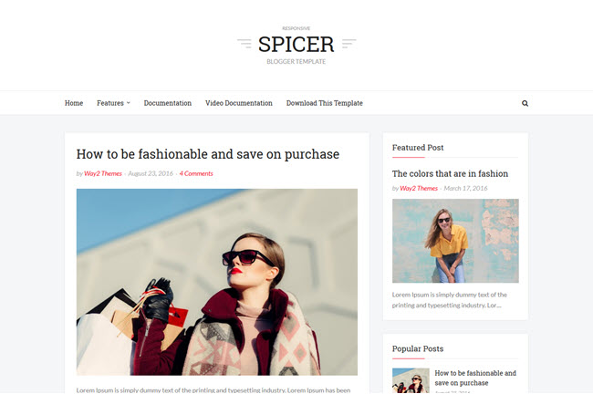 Spicer - Responsive Simple Blogger Template