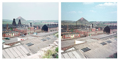 Longton Along Sutherland Road, looking towards Park Hall pit heap.  Ridgway Potteries and Rosina China factory in the middle distance. Two updraught stack ovens Left pic taken June 1970.  Right pic taken August 1970 Photos: Terry Woolliscroft Collection.  Taken with a Kodak Instamatic 233