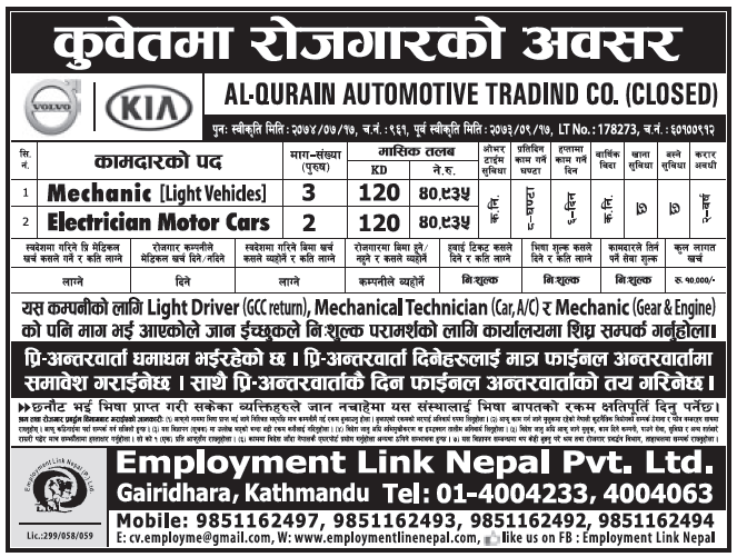 Jobs in Kuwait for Nepali, Salary Rs 40,935