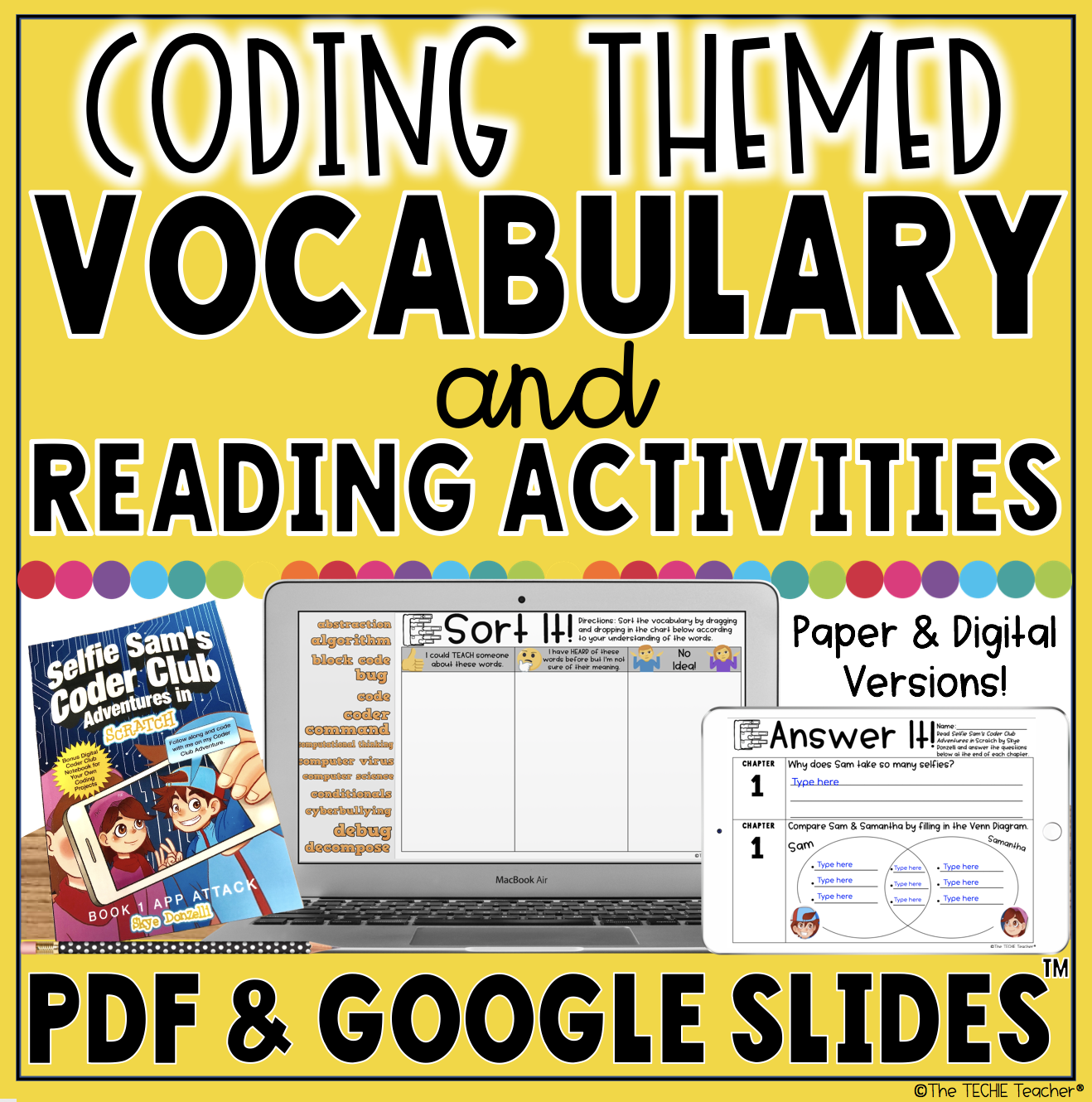 Coding Themed Vocabulary and Reading Activities for Selfie Sam's Coder Club Adventures in Scratch