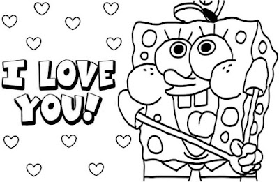 Spongebob Coloring Page for Valetines Days Free Download