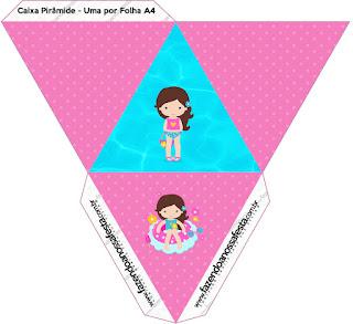 Caja con forma de pirámide de Fiesta en la Piscina para Niña Morena.