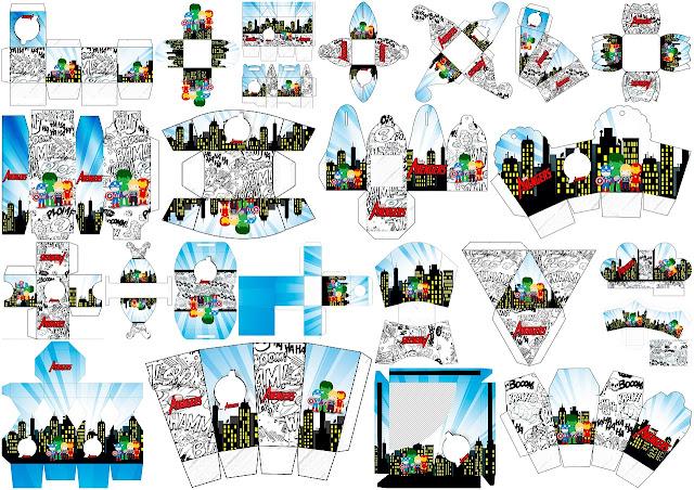 Los Vengadores Chibi: Cajas para Imprimir Gratis.