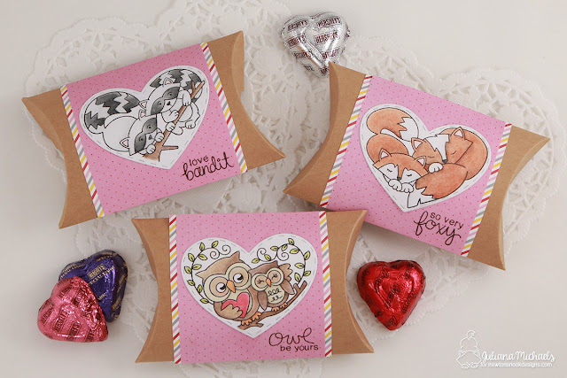Valentine's Day Pillow Boxes by Juliana Michaels featuring Newton's Nook Designs Woodland Duos Stamp Set and Darling Hearts Die Set