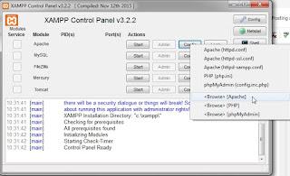 xampp control panel open apache directory