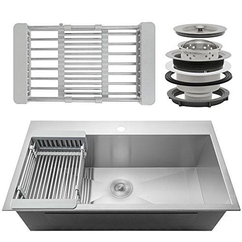 firebird 33 x 22 x 9 single bowl 18 gauge handmade stainless steel topmount drop in kitchen