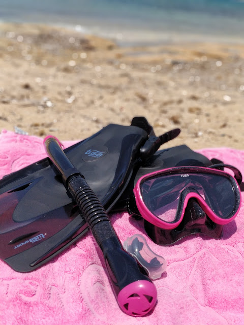 Simply Scuba mask, snorkel and fins on beach in Cyprus #simplysnorkelling