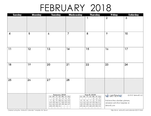 Blank February 2018 Calendar, February 2018 Blank Calendar, February 2018 Calendar Printable, February 2018 Calendar Template