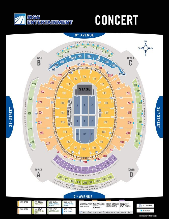 Madison Square Garden Interactive concert Seating Chart