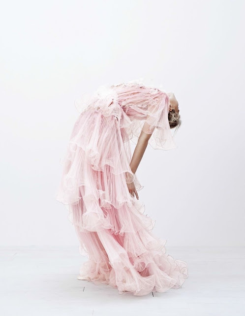 pale pink ruffles gown