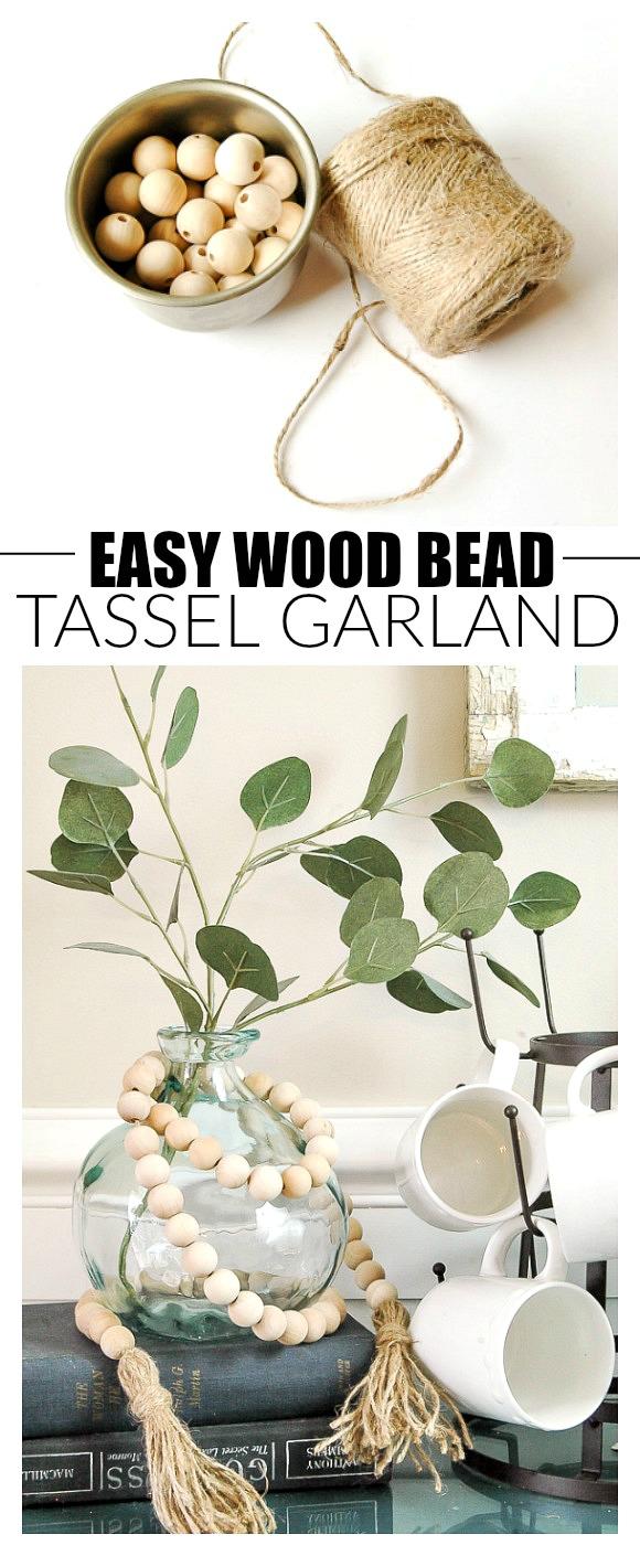 How to make an easy wood bead tassel garland