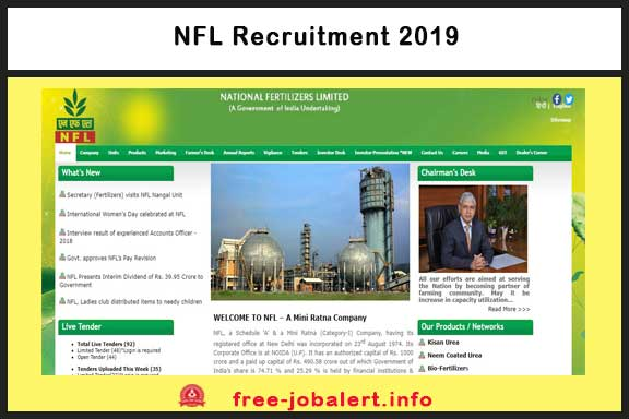 NFL Recruitment 2019: National Fertilizers Limited Appointment of applications for the post of 40 Marketing Representative