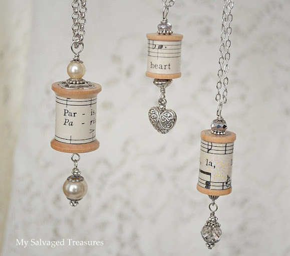 one of a kind necklaces made from thread spools