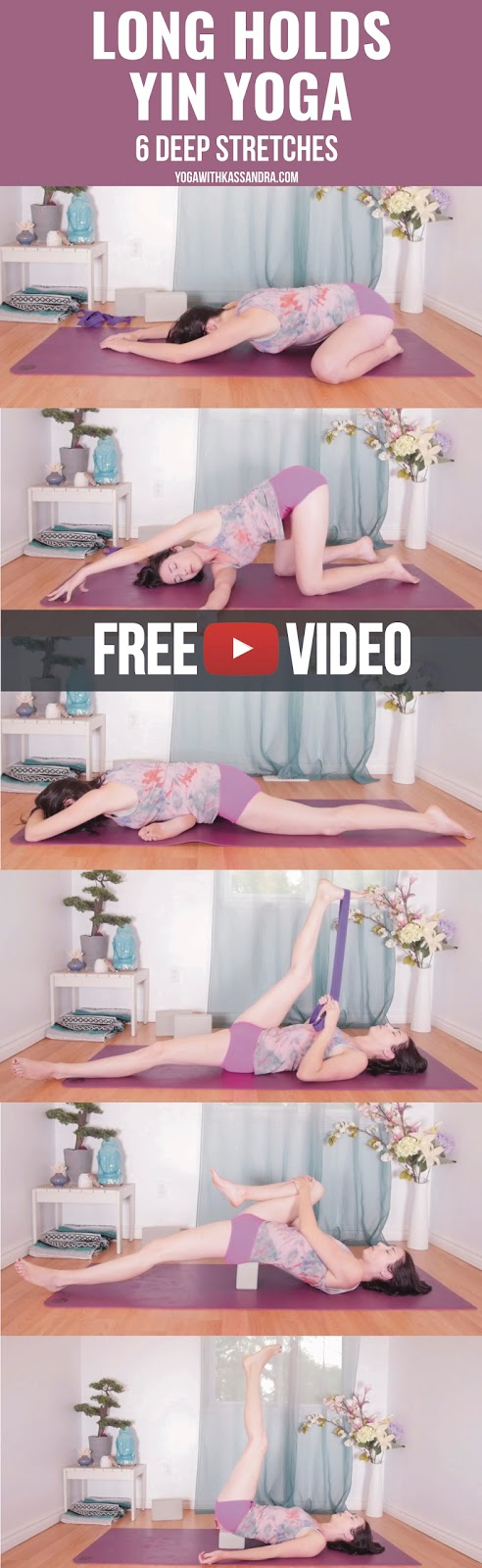 The people (you my lovely loyal readers) have spoken and they (you) want longer Yin Yoga classes! So I bring you this introspective and meditative long hold practice. These 6 poses are held for five minutes a piece, in each variation and each side when applicable. This length of time will give the body the ability to open up slowly on its own, to get you deeper into the pose without passing your edge (start shy of your full extent), and increase your flexibility. As you hold each posture, bring your awareness to the breath, and keep the mind from wandering. Holds of this length are better suited to someone who is familiar with practicing Yin Yoga. However, if you are newer to Yin and/or yoga, you are welcome to exit them sooner, when you feel you have passed your edge. As time passes you will find your body opening up and the pose becoming more comfortable and easier to hold. If this is not the case, ease off or come out of the pose.