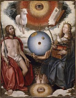 Modelo del Universo en el óleo de Jan Provoost 'Alegoría cristiana', siglo XIV