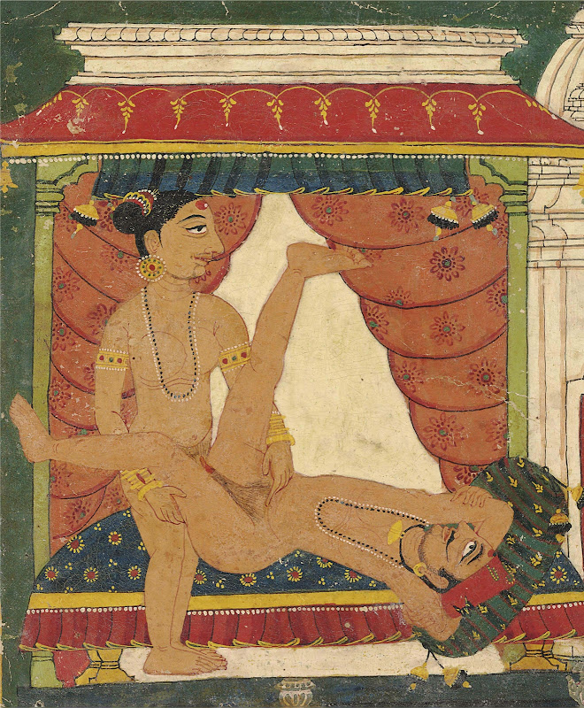 A Man Laying on a Divan with a Lady Standing and Holding Him in a Lovemaking Embrace - Miniature Painting, North India, Probably Basholi, Early 18th Century