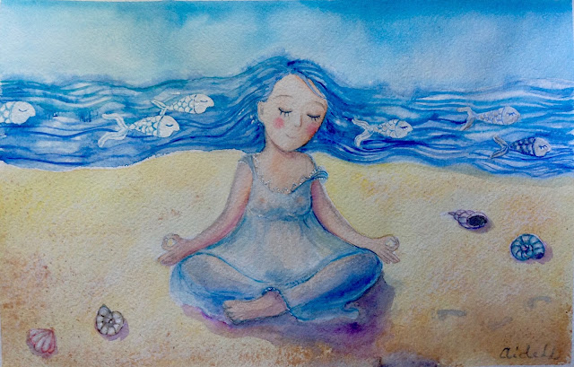 #yoga #meditation #summer #watercolor #illustration #art #shell #seasideart #fishart