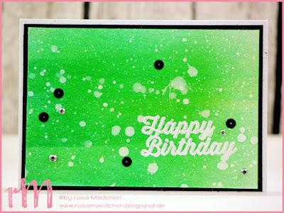 Stampin' Up! rosa Mädchen Kulmbach: Geburtstagskarte mit Spritzeffekt